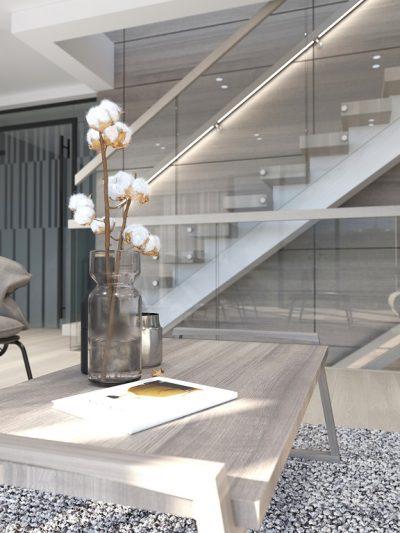 Modern trapp med glassrekkverk. Xtrapp