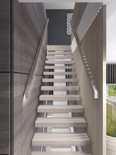 Modern trapp modell med massive trinn