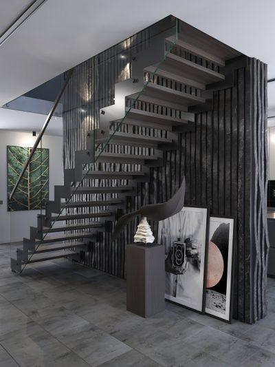 Modern trapp med metal vanger.