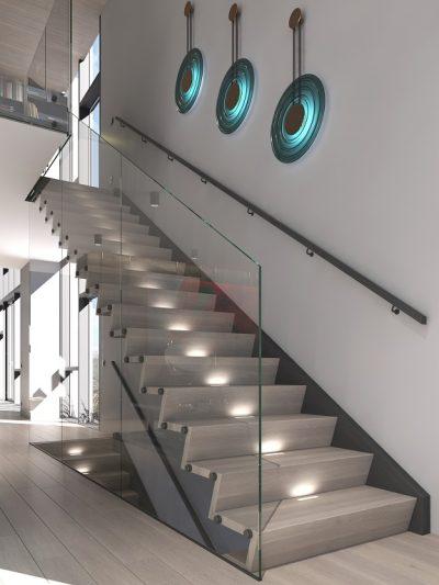 Modern trapp med Z-trinn og glassrekkverk. Modell X14. Xtrapp